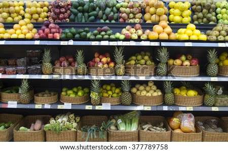 fruits and vegetables in a shop window