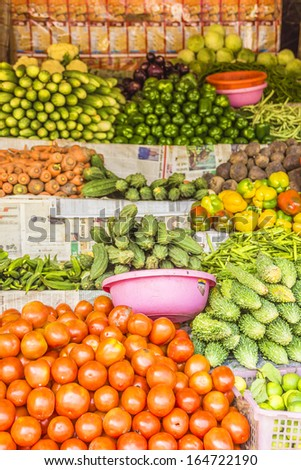 Fruits and vegetables in a small market in Vagator, Goa, India. Vegetables, fruit and seafood is one of the main part of Indian peoples ration.