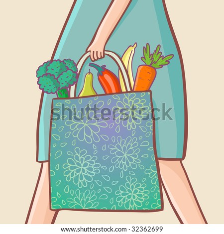 fruits and vegetables in the bag - stock photo