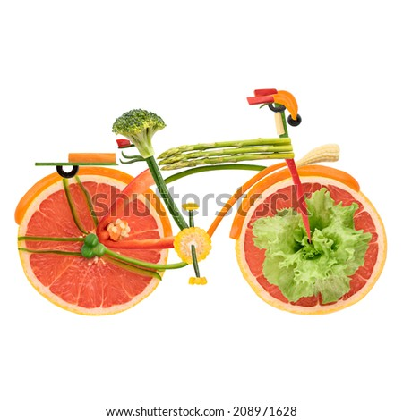Fruits and vegetables in the shape of an urban fixed gear bicycle in detail isolated on white background. - stock photo