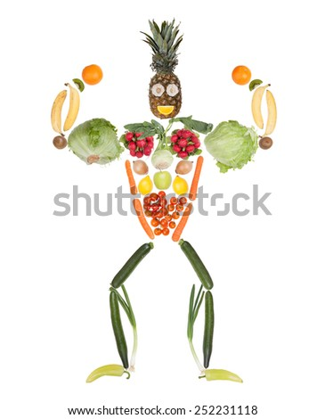 Fruits and vegetables in the shape of fitness body - muscular bodybuilder - stock photo