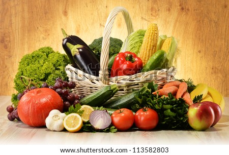 Fruits and vegetables in wicker basket