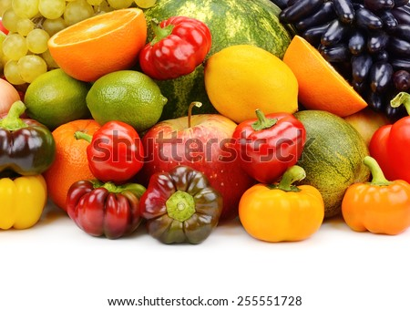 fruits and vegetables isolated on white background - stock photo