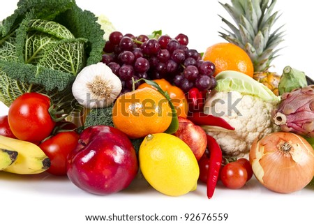 Fruits and Vegetables isolated over white