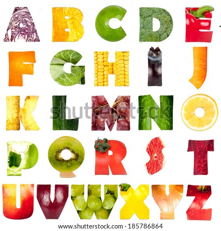 fruits and vegetables - letters - stock photo
