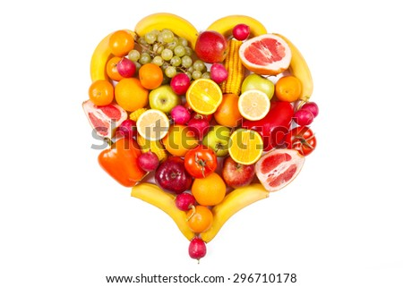 Fruits and vegetables on a white background - stock photo