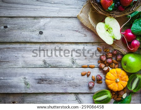 Fruits and vegetables on rustic background