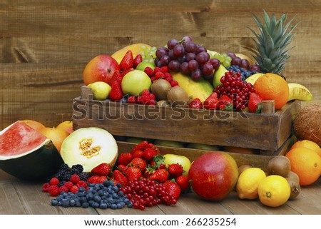 Fruits and vegetables on white background - stock photo