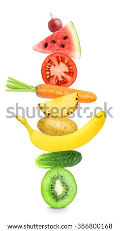 Fruits and vegetables on white background. Healthy food concept. Stack of fresh food