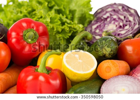 fruits and vegetables pile - stock photo