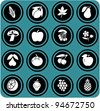 fruits and vegetables set . fruits icons. - stock photo