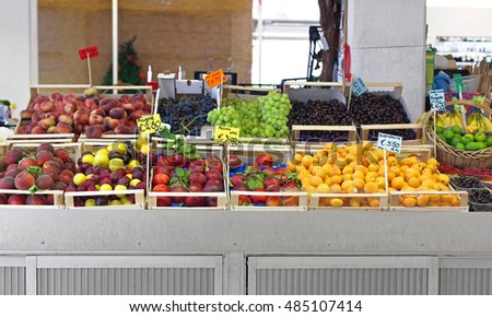 Fruits and Vegetables Stall at Farmers Market
