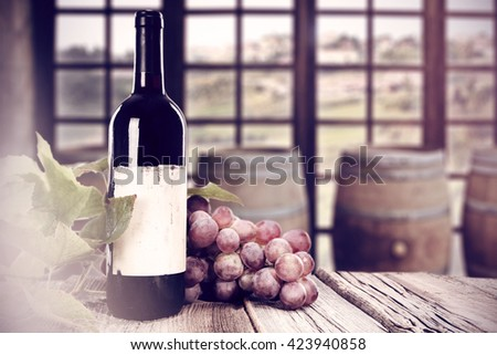 fruits and wine  - stock photo