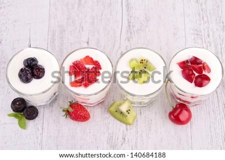 fruits and yogurt - stock photo