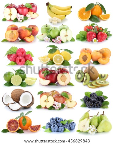 Fruits apple orange berries apples oranges banana fresh strawberry pear collection isolated on white