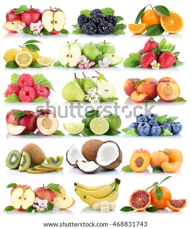 Fruits apple orange berries apples oranges banana organic fruit strawberry pear collection isolated on white