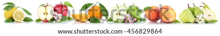 Fruits apple orange lemon peach apples oranges peaches in a row isolated on a white background - stock photo