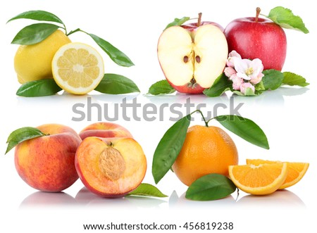 Fruits apple orange peach apples oranges collection isolated on a white background - stock photo