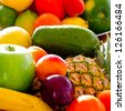 Fruits - assortment of fresh fruits, weight loss concept - stock photo
