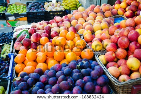 Fruits at the market stall - stock photo