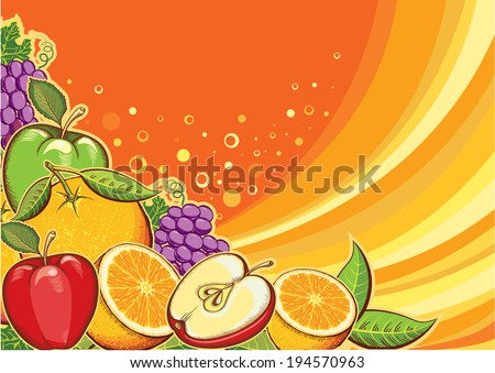 Fruits background.Raster