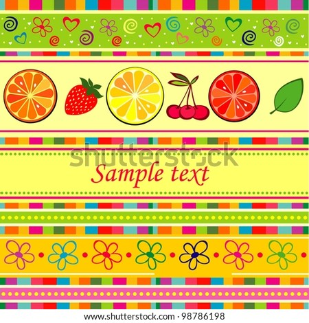 Fruits background with space for your text. illustration