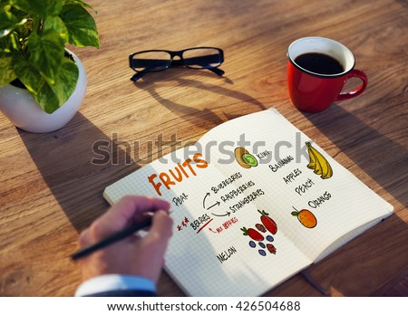 Fruits Berries Healthy Shopping List Concept - stock photo