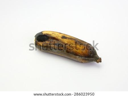 Fruits, Black Rotten Wild Banana, Asian Banana or Cultivated Banana on white background - stock photo