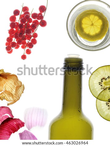 Fruits, bottle and glass isolated on white background