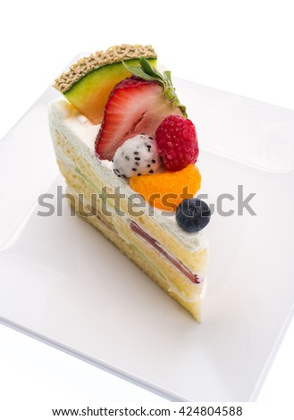 fruits cake isolated on white background