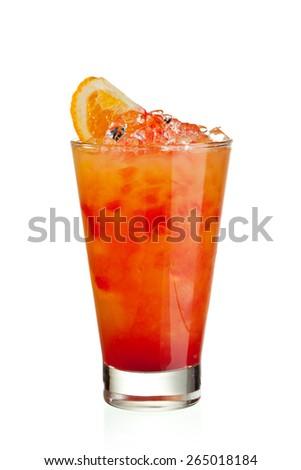 Fruits Cocktail with Orange, Pineapple, Grapefruit and Grenadine - stock photo