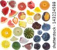 Fruits Collage (icon size) isolated on white background - stock photo