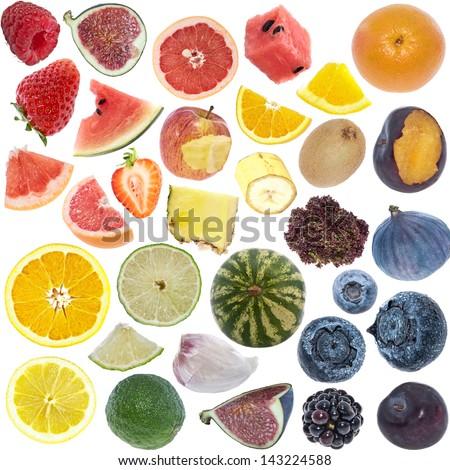 Fruits Collage (icon size) isolated on white background - stock photo