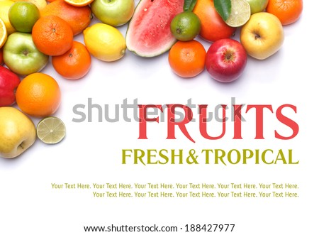 Fruits collection, fruits isolated. Big Set of different Fruits, orange, apple and other citrus. Fruits on white background. Mixed Fruit, Fruits set. Composition of fruits. Tropic Fruit. Diet Set.