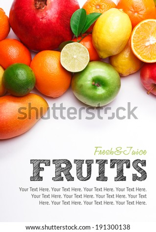 Fruits collection, fruits isolated. Big Set of different Fruits, orange, apple and other citrus. Fruits on white background. Mixed Fruit, Fruits and Vegetables set. Composition of fruits. Tropic Fruit