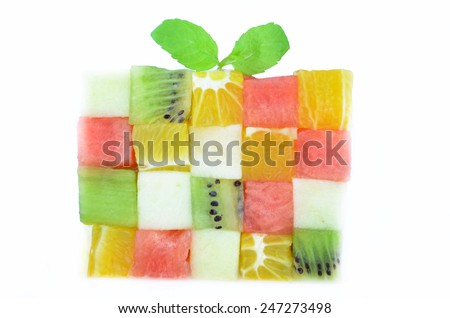 Fruits cubes desert - stock photo