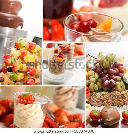 Fruits dessert collage - stock photo