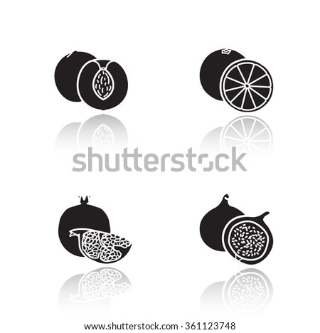 Fruits drop shadow icons set. Half sliced apricot and pomegranate with seeds. Sweet summer fruits. Cut into pieces orange and fig glossy symbols. Black cast shadow silhouettes illustrations. Raster - stock photo
