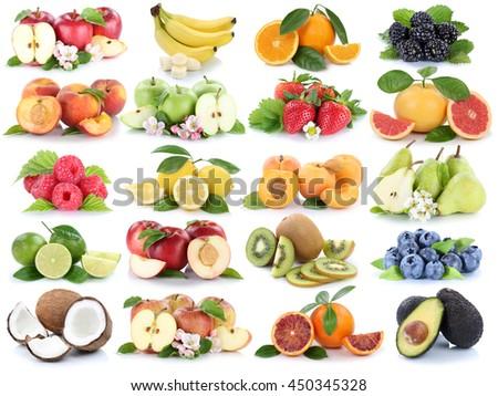 Fruits fruit collection fresh orange apple apples banana strawberry isolated on a white background - stock photo