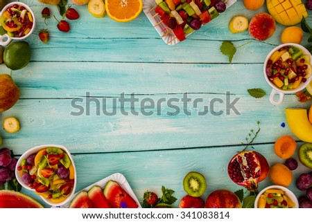 Fruits, Fruit salad - diet, healthy breakfast, frame with space for text - stock photo