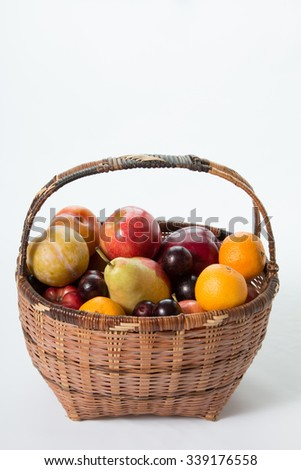 fruits in a backet in a white background