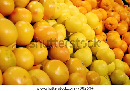 Fruits in a shop (shallow DOF) - stock photo