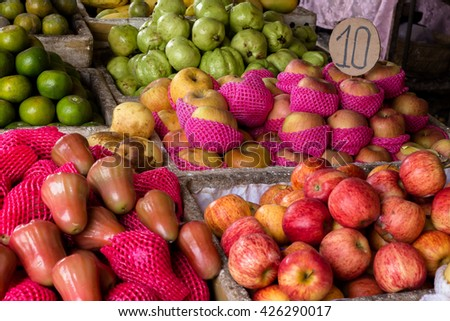 fruits in basket at the market place