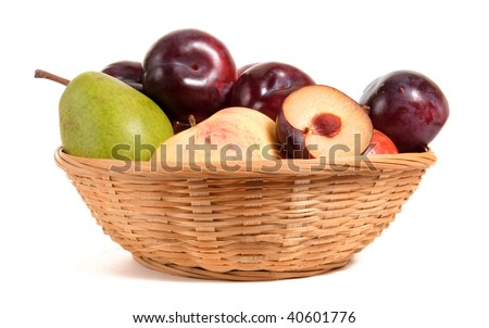 fruits in basket isolated on white