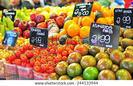 Fruits in the food market, Barcelona - stock photo