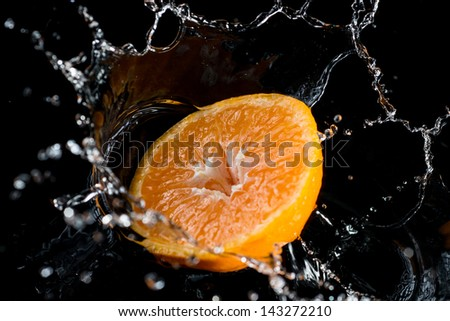 fruits in water lemon orange mandarin - stock photo