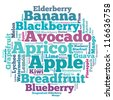 Fruits info-text graphics and arrangement concept on white background (word cloud) - stock photo