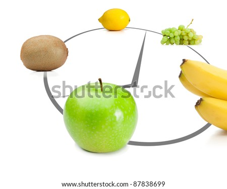 Fruits lying on abstract clock