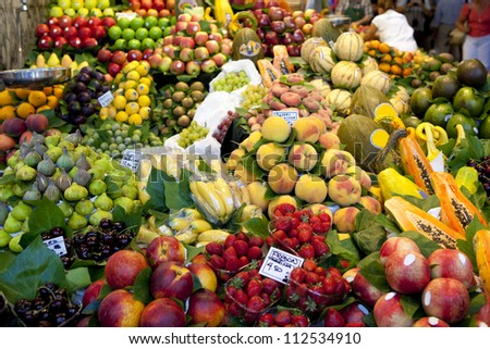 Fruits market, in La Boqueria, Barcelona - stock photo