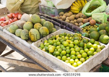 Fruits on the market stall in Galle, Sri Lanka
